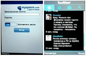 Приложения для социальных сетей в LG T300 Cookie Lite.